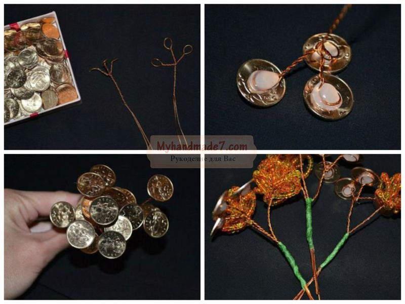 как сделать денежное дерево из бисера