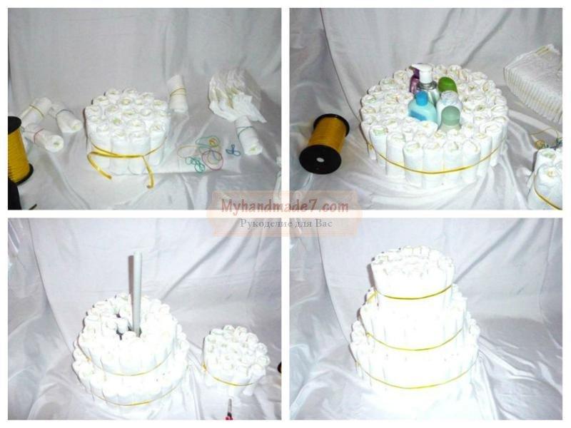 Фото как делать торт из памперсов своими руками