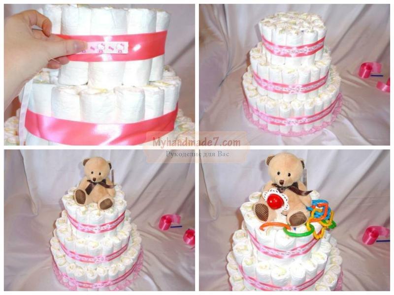 Торт из памперсов для девочки своими руками