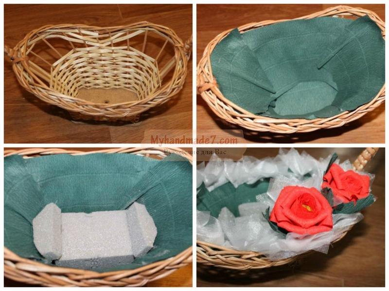 Как сделать розу из бумаги с конфетами