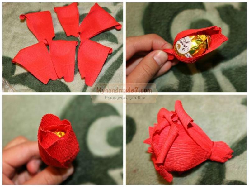розы из бумаги с конфетами: пошаговый мастер-класс с фото