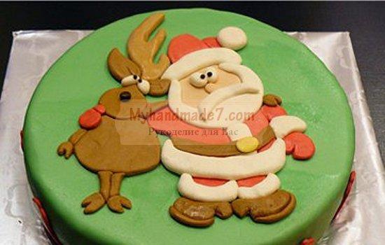 Украшение для торта к Новому году из мастики. Фото и идеи