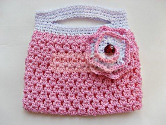 Вязание крючком сумки с розой