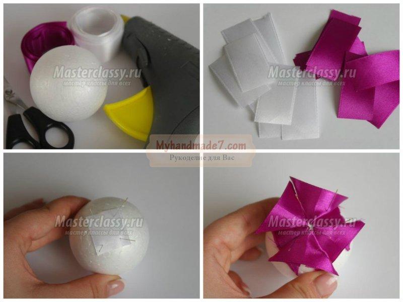 Елочные шары из лент своими руками 82