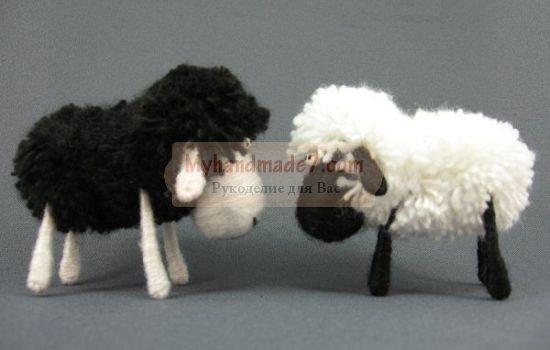 Как из ватных палочек сделать овечку из 35