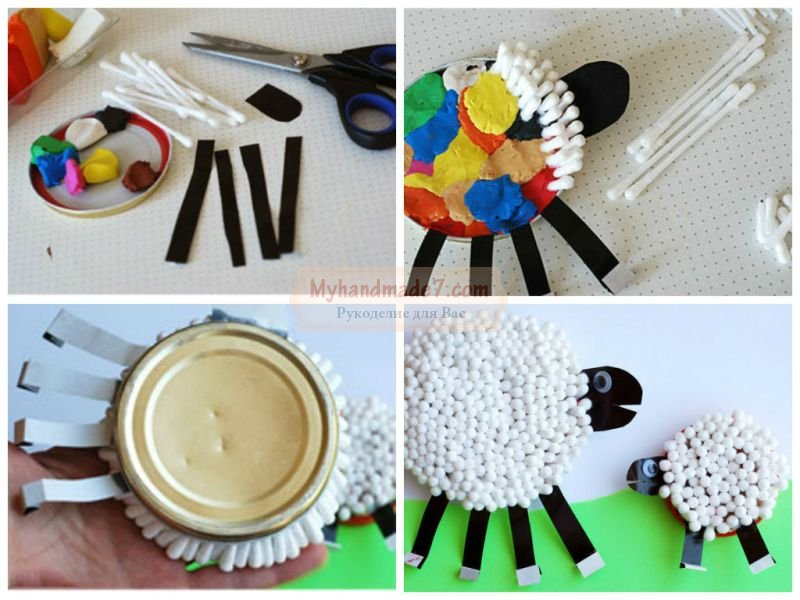 Поделка овечка из ватных палочек