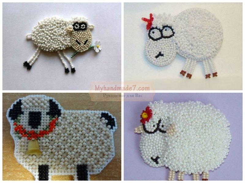 Вышивка овцы из бисера