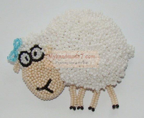 Как сделать овечку из бисера
