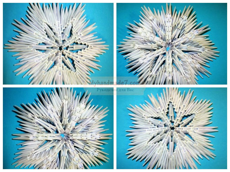 Объемные снежинки из бумаги: