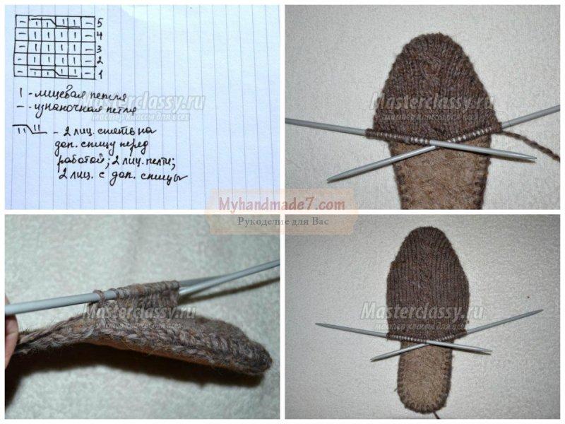 вязание тапочек спицами с описанием и пошаговыми фото