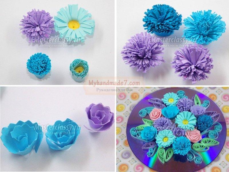 Красивые цветы из дисков 34