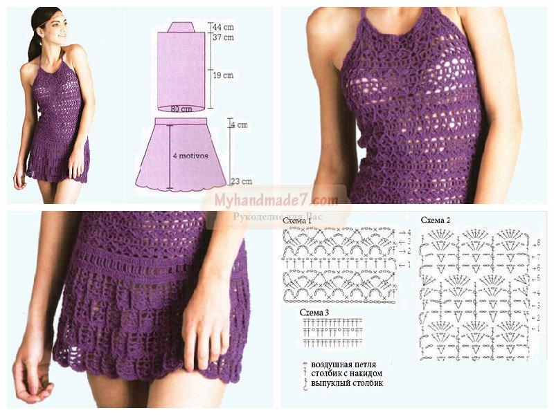 Вязание крючком платьев летних 5