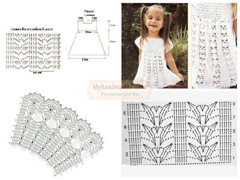 платье летнее крючком подробные схемы вязания