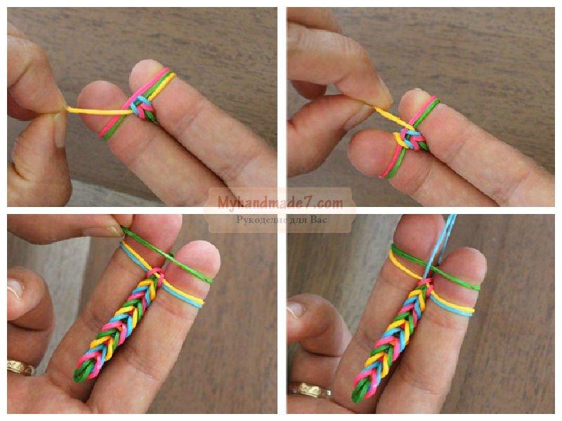 Плетём резиночки поэтапно фото