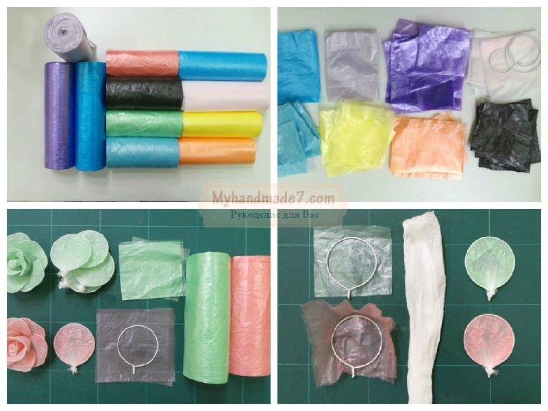 Поделки из мусора: розы из пакетиков своими руками