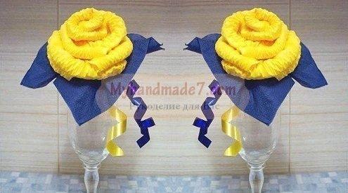 Большая роза из салфеток своими руками пошаговое 34