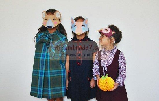 Детские маски зверей из фетра своими руками
