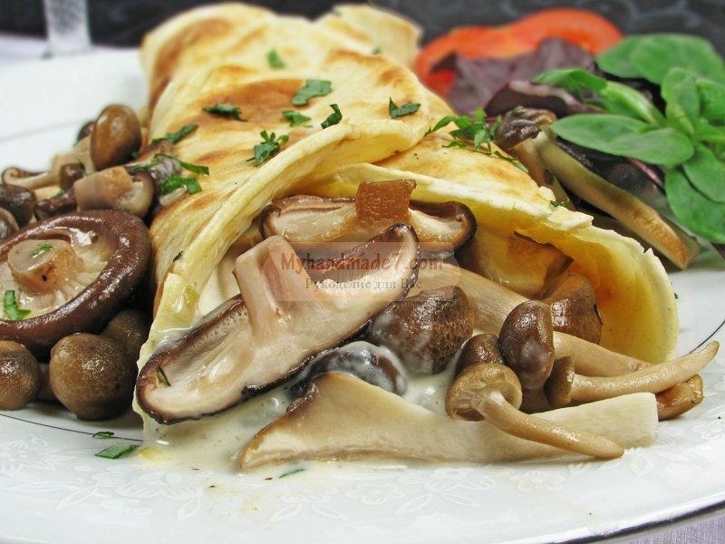 Блины с грибами и курицей: лучшие рецепты с фото