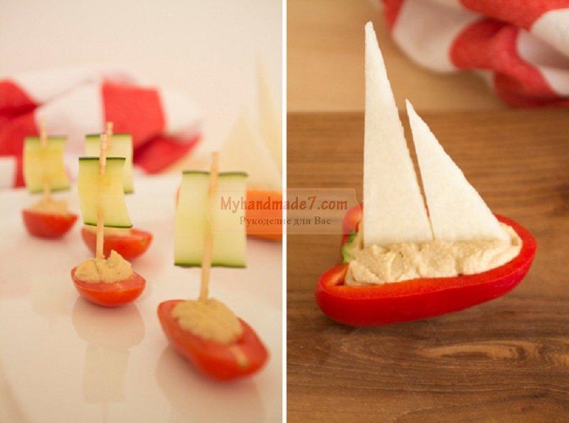 Необычные украшения из фруктов и овощей к праздничному столу