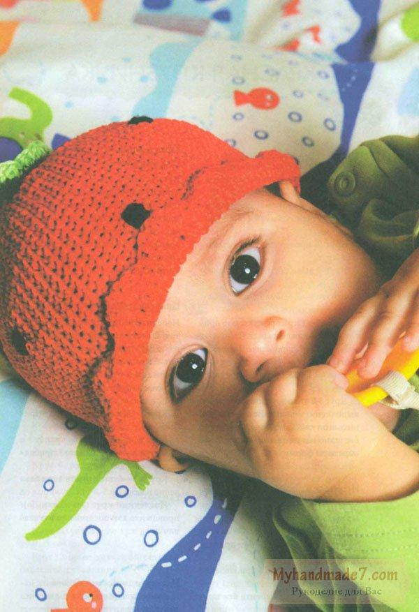 детская шапочка красная клубничка