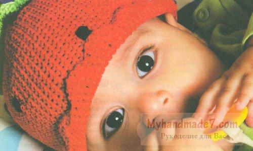 детская шапочка красная клуюничка