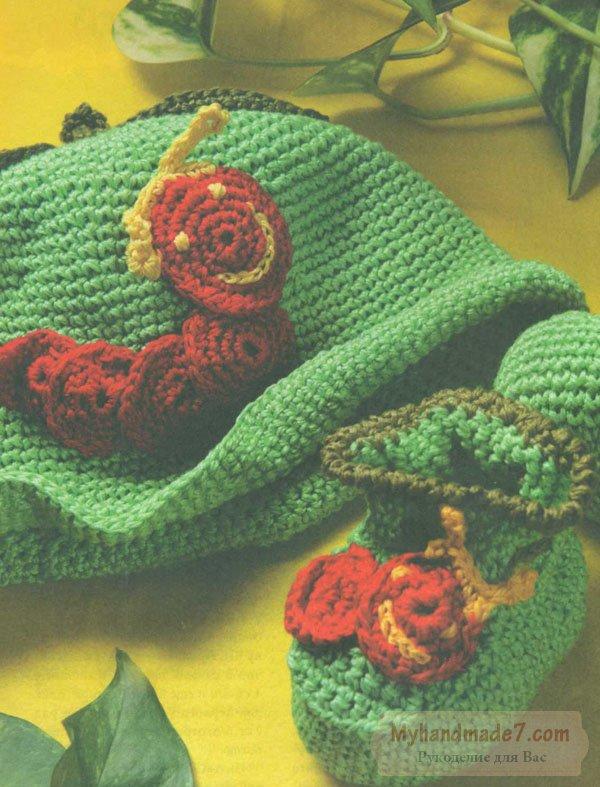 шапочка зелёное яблоко с красной гусеницей