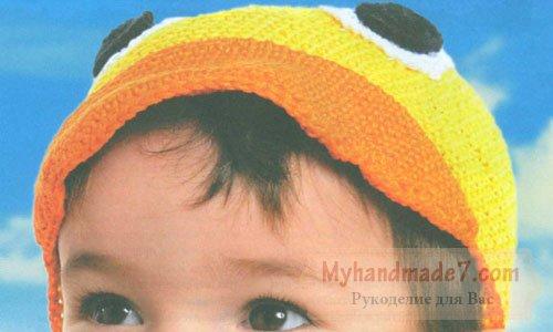 детская шапочка и башмачки весёлый утёнок