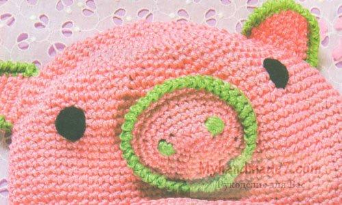 шапочка розовая свинка