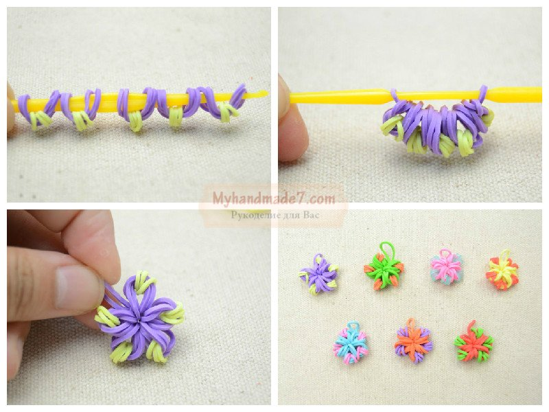 Как сплести из резинок на крючке цветок