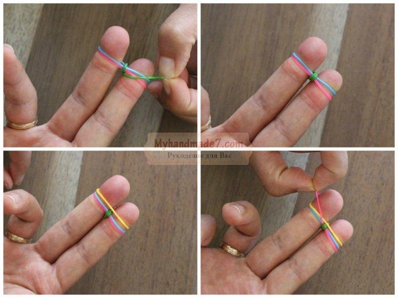 Как сделать браслет из резиночек с маленьким станком