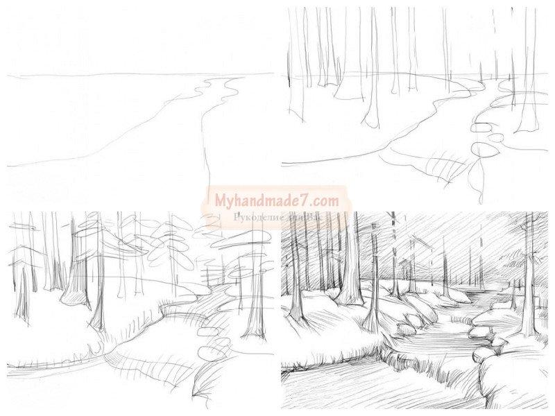 Как нарисовать пейзаж речки поэтапно