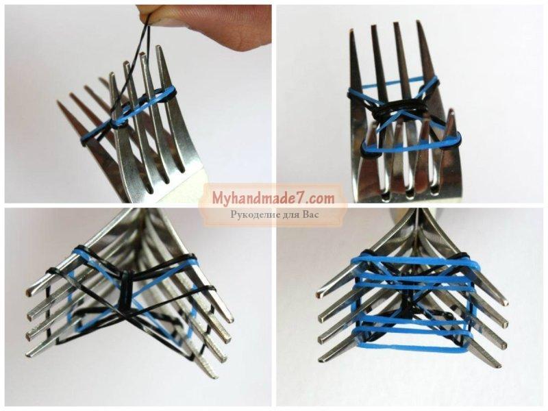 Плетение из резинок на вилке: фото и видео уроки