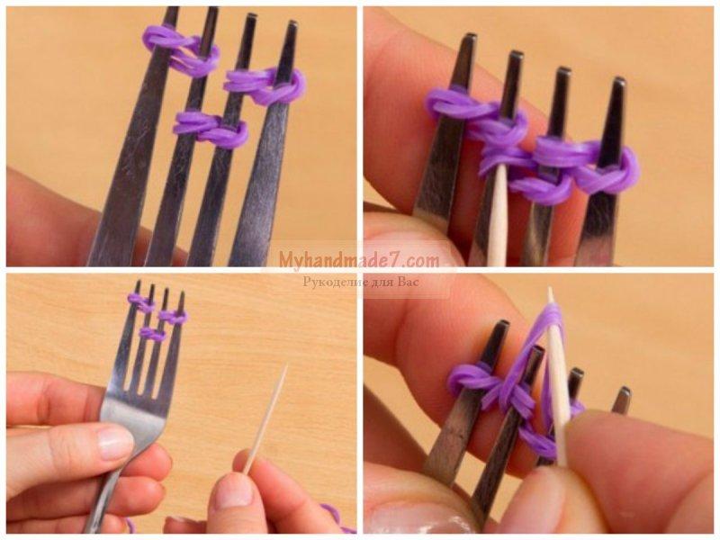 Как сделать резинки для браслетов на вилке 3