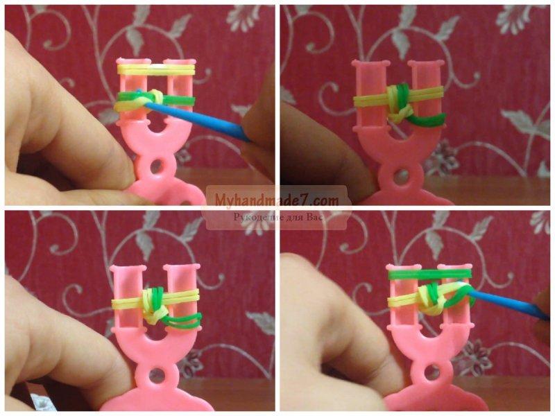 Плетение браслетов из резинок на рогатке: схемы и способы плетения