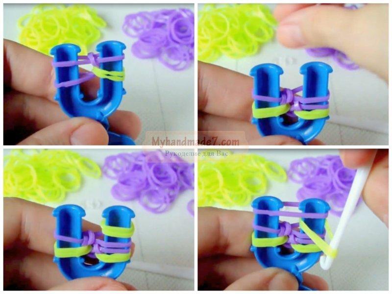 Как сделать браслет на рогатке из резинок