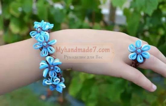 Особенности плетения браслетов из резинок цветок