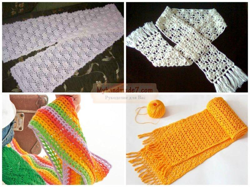 Вязание шарфа. Вяжем спицами и крючком