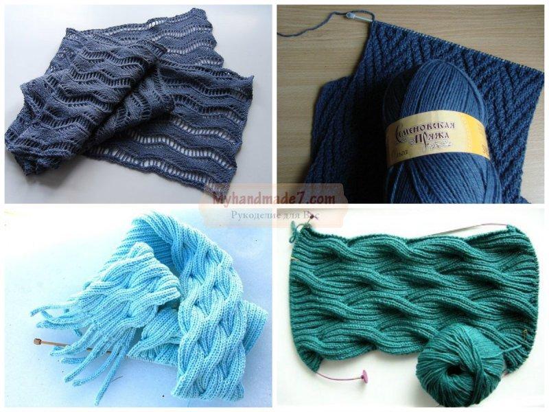 Вязание шарфа. Вяжем спицами и