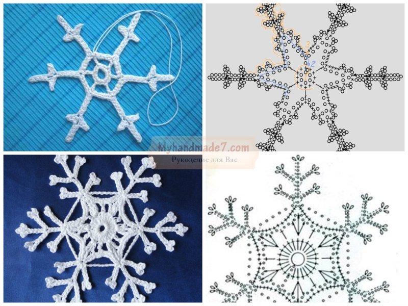 Снежинки крючком: схемы и идеи