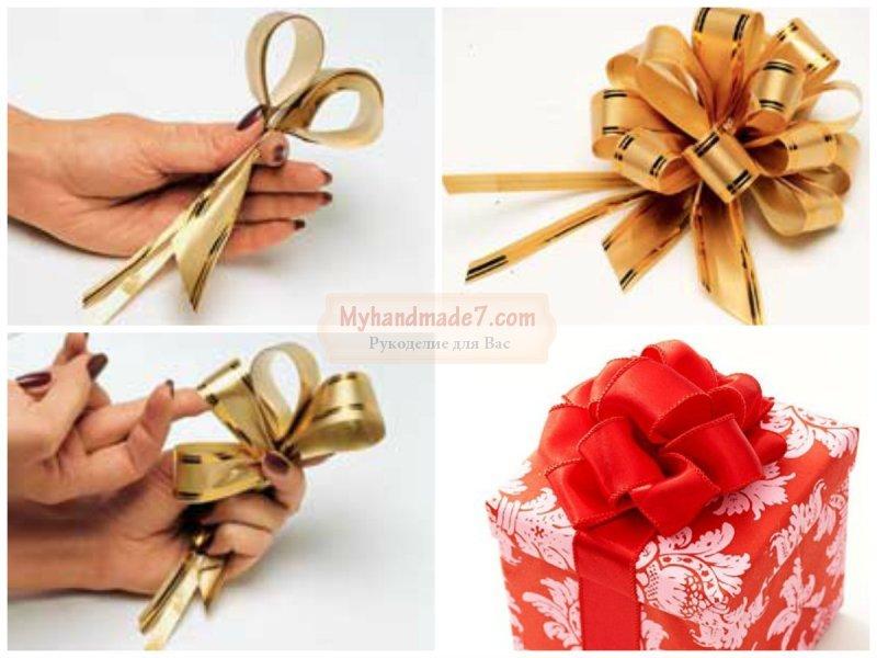 Как сделать подарочный бантик из ленты своими руками 75