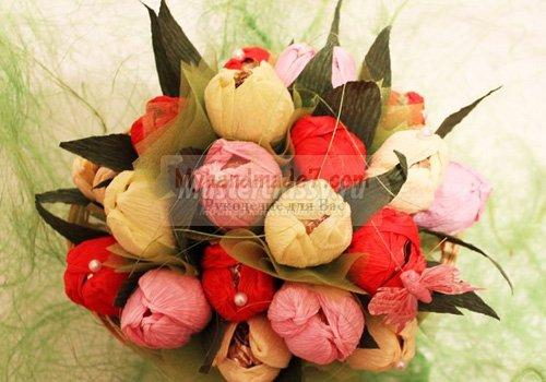 Тюльпаны из конфет: мастерим своими руками