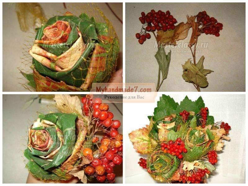 Букет из листьев - красивая поделка для детей и взрослых