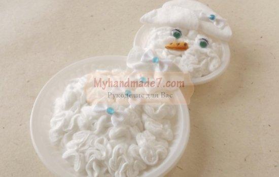 Снеговик из ваты к Новому году. Идеи и мастер-классы