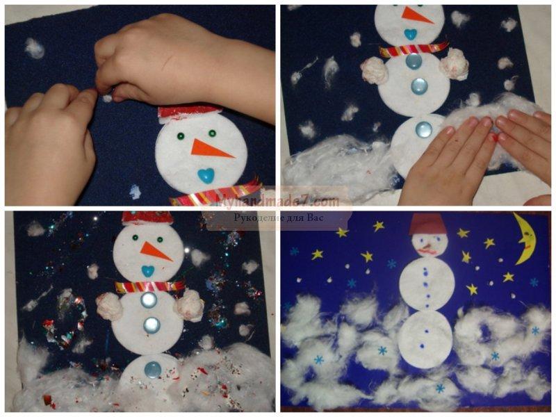 Как сделать снеговик из ваты видео