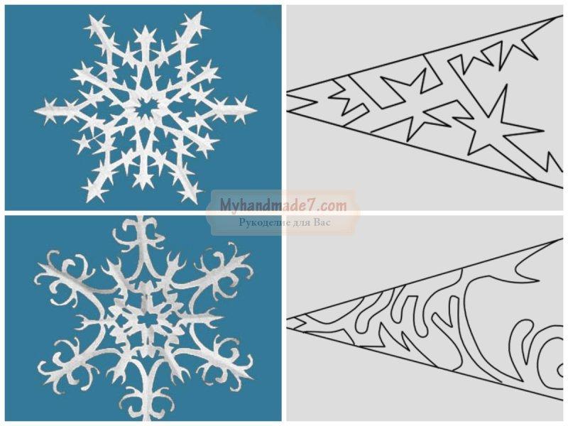 Поэтапная схема вырезания снежинок