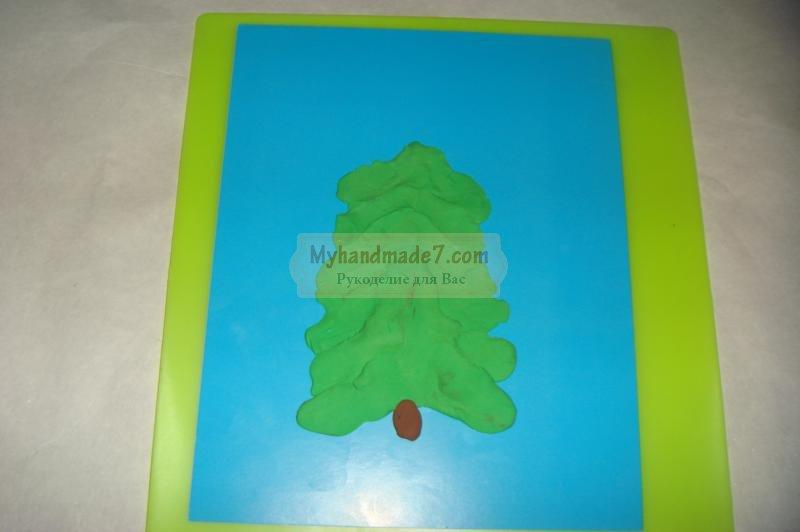 новогодние открытки из пластилина