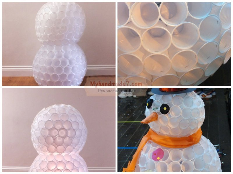 Снеговик из стаканчиков своими руками пошаговое фото 16