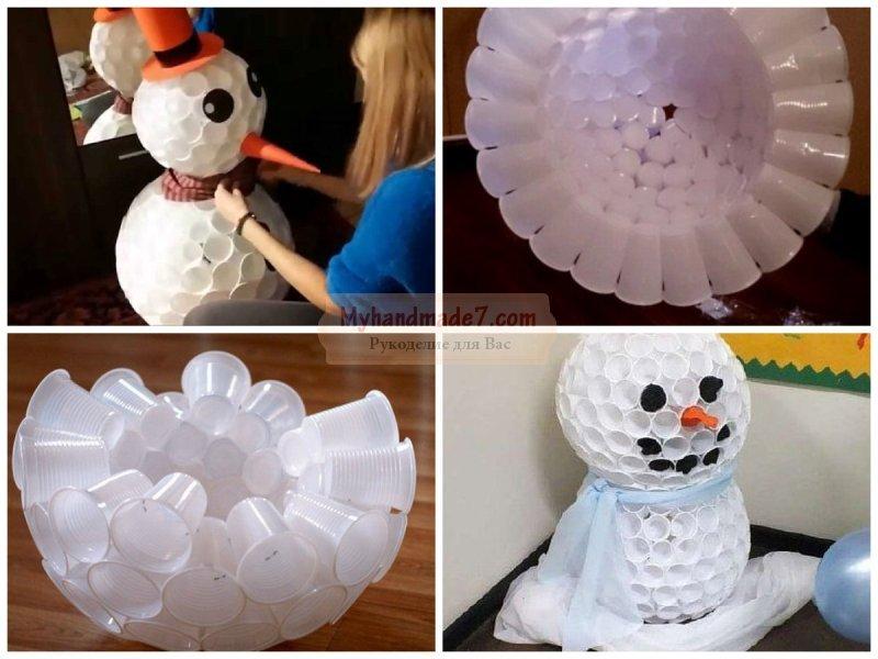 Снеговик из прозрачных пластиковых стаканчиков своими руками фото 976