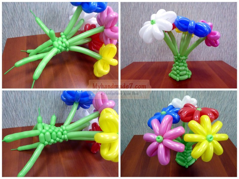 Цветы из шаров как делать