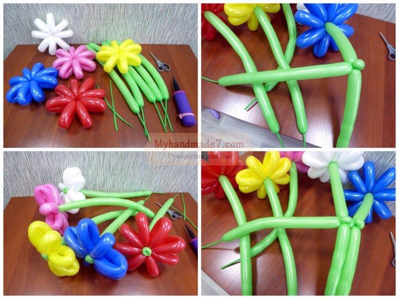 Цветы из воздушных шаров своими руками как делать 30
